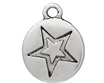 15 Star Charms, Antique Silver Tone (1L-87)