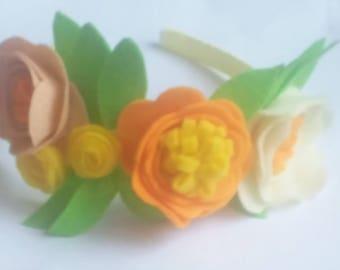 springtime girls felted flower headband tiara
