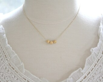 Beaded Necklace, Gold Necklace, Minimalist Necklace, Bridesmaid Gift, Gold Nugget Necklace, Rose Gold Necklace, dainty gold necklace, gift