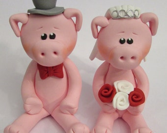 Pig Wedding Cake Topper, Bride And Groom, Novelty Topper, Handmade