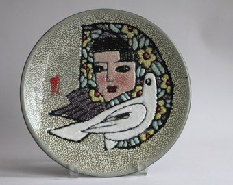 Vintage Enamel Portrait Girl Woman with covered head white dove Art Plaque Plate Wall Hanging