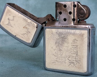 Vintage Etched Zippo II Made in Bradford PA, USA Windproof Collectible Lighter Lighthouse Sailboat Clouds Tobacciana Collectible