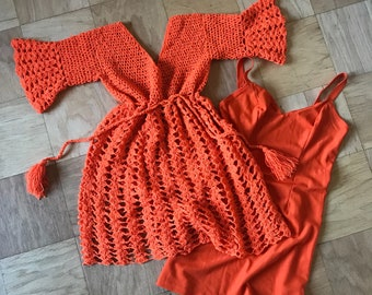 Vintage Crochet Bell-Sleeve Babydoll Dress with Matching Slip