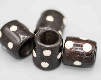 Large Batik Bone Poka Dot Tube Beads with Extra Large Hole 4 Beads SKU-BONE-8