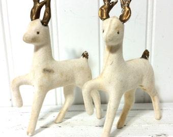 2 Vintage Flocked Reindeer