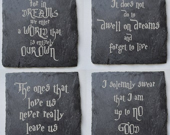 Harry Potter Engraved Slate Coasters, Custom Coasters, Harry Potter Fans, Birthdays, House Gift, Anniversary, Harry Potter Quotes