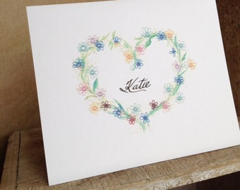 Personalized Note Cards Featuring Print of Tatting/Watercolor