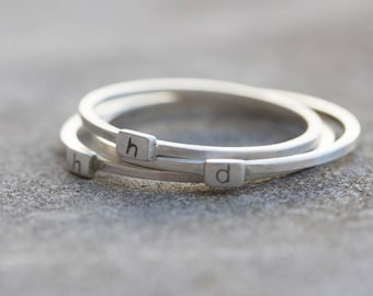 Initial ring with hand stamping - stackable sterling silver