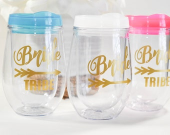 Stemless Wine Tumbler, Bev2go Stemless Wine Glass, Bride and Bride Tribe Bridesmaid and Wedding Gifts