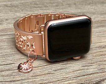 Rose Gold Bracelet for Apple Watch All Series Flower Design CZ North Star Jewelry Band Rose Gold Color Adjustable Metal Apple Watch Band