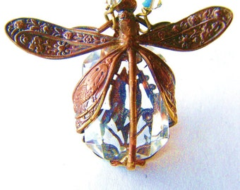 Dragonfly Necklace-Harvest Pattern Art Nouveau with Diamond Clear Glass Stone