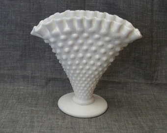 Vintage Milk Glass Hobnail Fan Vase