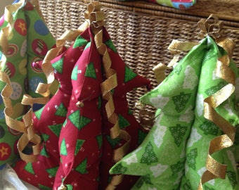 """Christmas trees, table top, stuffed trees, many fabrics, stuffed Christmas trees ,fabric,stuffed, 12"""" tall, tabletop, CIJ, Product ID# G-016"""