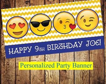 """18""""x36"""" Emoji Party Banner   Indoor Outdoor Personalized Party Banner   Smiley Face   Kissy Face   Emoji Party Decor"""