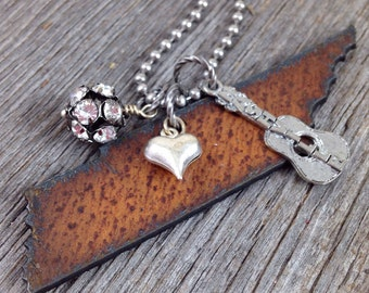 Tennessee Necklace, Tennessee Jewelry, Rustic Western Jewelry, Nashville Necklace, Nashville Jewelry Gift for Her Country Music Lover Gift