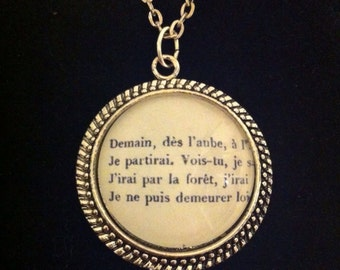"Bookish necklace: A poem by Victor Hugo - ""Demain, dès l'aube..."""