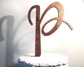 Wooden Wedding Cake Topper: Letter P, Monogram Cake Topper, Rustic Cake Topper, Handmade Cake Topper