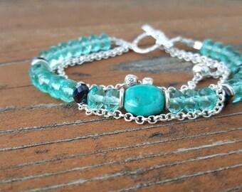BLUE ISLANDS Czech glass and Sterling Bracelet & Earrings