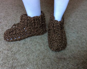 Handmade crochet slippers boots, House shoes, Brown Slipper Boots, Crochet Boots