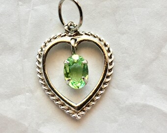 """Vintage Sterling Heart Pendant With Green Stone 7/8"""" charm pendant for necklace"""