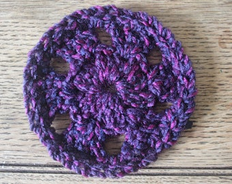 Black Friday | Cyber Monday | Set Of Four Round Handmade Coasters | Crocheted | Crochet Gift | Home Decor | Boho | For Her | New Home