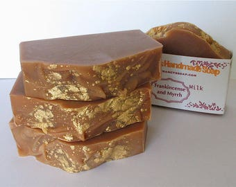 Frankincense and Myrrh Goat Milk Soap - Holiday Soap - Handmade Creamy Scented Soap with Cocoa Butter, Goat Milk, Great Lather