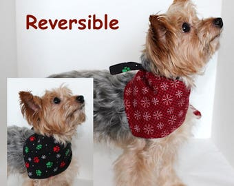 Christmas Dog Bandana, Small, Medium, Large Reversible tie-on bandanas for dogs, Paw Print Snowflakes, In Stock, Fashion Dog Clothes