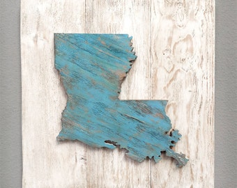 """State Sign - Handcrafted State Wood Cutout Wall Decor (Large 17""""x17"""") - Solid Wooden Wall Art. State Home Decor. Louisiana, Texas, and more"""