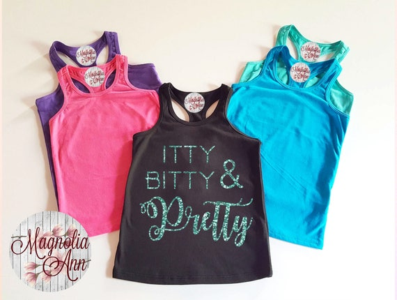 Itty Bitty And Pretty, Infant, Toddler, Little Girls Racerback Tank Top, Toddler Tank Top, Baby Tank Top, Infant Tank Top, Girls Tank Top