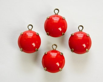 Vintage Opaque Red Glass Stones 1 Loop Brass Ox Settings rnd011J