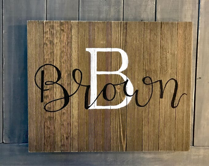"""Featured listing image: Custom Hand-painted Wooden Sign - Monogram with Last Name (optional """"established"""" date)"""