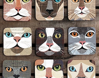 Cat Coaster - 9 'Close-up' designs available