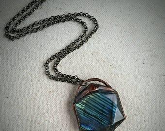 Labradorite Sentinel Pendant - Garnet, Copper, & Gunmetal