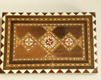 Vintage Wood Inlay Marquetry Jewelry or Trinket Box