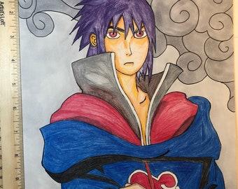 Sauke Uchiha from Naruto with Copic marker cosmic manga fanart