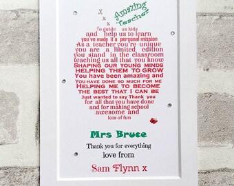 Thank You Teacher, Teacher Appreciation Gift, End of term gift, Personalised Teacher gift, Personalized gift for teacher