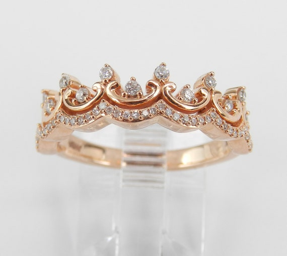 Rose Pink Gold Diamond CROWN Wedding Ring Stackable Anniversary Band Size 7
