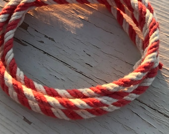 5MM Natural White and Red Cotton Twisted Cord Rope Craft Jewelry Beading Macrame Artisan String
