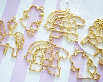 Open Back Bezel Charms / Fantasy World / Unicorn Castle Merry go round  (30-47mm) AZ631