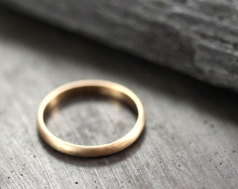 Women's Gold Wedding Band, 2.5mm Half Round Slim Recycled 14k Yellow Gold Ring Brushed Gold Wedding Ring - Made in Your Size