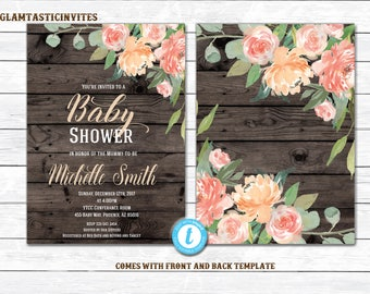 Baby Shower Invitation Template, Floral Baby Shower Invitation, Rustic Baby Shower Invitation, Rustic Floral Baby Shower Invitation Template