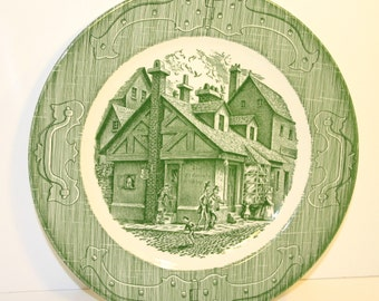 The Old Curiosity Shop Plate Green Made in USA Collectible Plate Vintage China