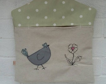 Peg bag with chickens appliqué free motion embroidery. Hen and flower laundry bag with green polka dot