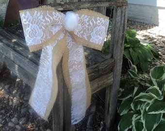 Burlap and Lace Bow with Rosette, Rustic Wedding Pew Bow, Chair bow, Rustic/Country/Barn/Shabby Chic Wedding Decor