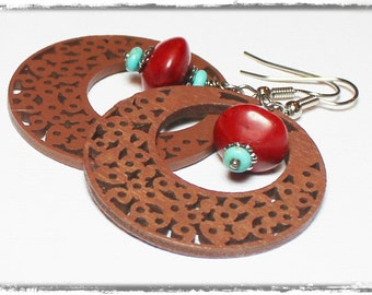 Redwoods... Handmade Beaded Jewelry Earrings Turquoise Coral Wood Gemstone Terra Cotta Red Blue Brown Silver Lightweight Hoops Southwest