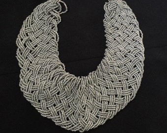 African bead necklace with earring; Micro beads; Bead Necklace; Seed bead necklace; Beadwork Necklace; Seed Bead Jewelry; African Jewelry