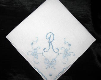 Hankies for Wedding Something Blue Old Handkerchief, Initial Letter Bridal Shower Gift Hanky R E H F J M A G S or T