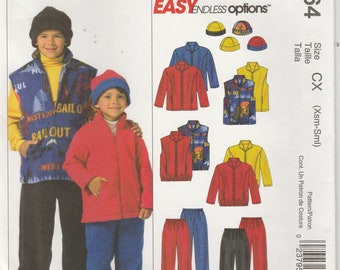 Kids Jacket Pattern Pants Vest Hat Fleece Boys and Girls Size X Small - Small Uncut McCalls 4964 EASY