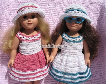 Crochet Pattern 18 inch Dolls 2 PC Doll Set Crochet Patterns Summer Dress and Lace Sun Hat 18 in American Doll Outfit Christmas Gift