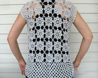 Crocheted Silver Grey Gray Sweater  Waistcoat- Summer Sale- Fits All Sizes